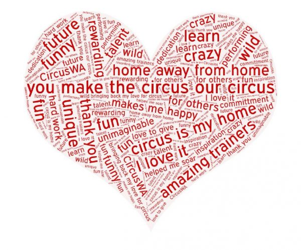 a heart full of comments from CircusWA students such as 'you make the circus our circus'